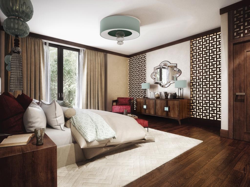 Спальня в  цветах:   Белый, Светло-серый, Серый, Темно-коричневый.  Спальня в  стиле:   Эклектика.