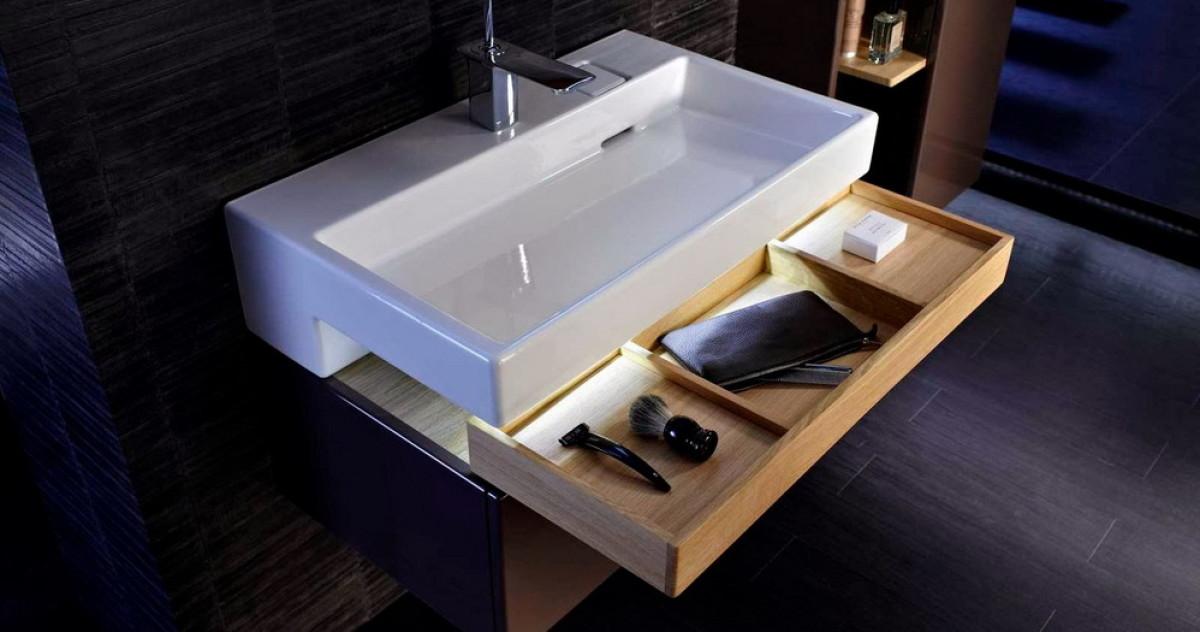 Как сделать ванную ещё удобнее: 15 примеров размещения ящиков под раковиной