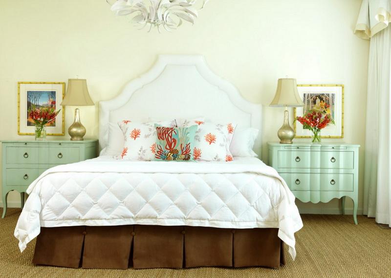 Спальня в  цветах:   Бежевый, Белый, Светло-серый, Темно-зеленый.  Спальня в  стиле:   Минимализм.