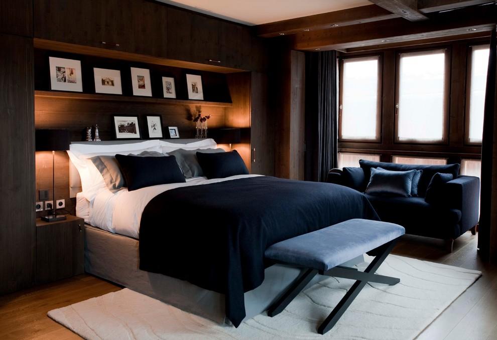 Спальня в  цветах:   Бежевый, Светло-серый, Темно-коричневый, Черный.  Спальня в  стиле:   Минимализм.