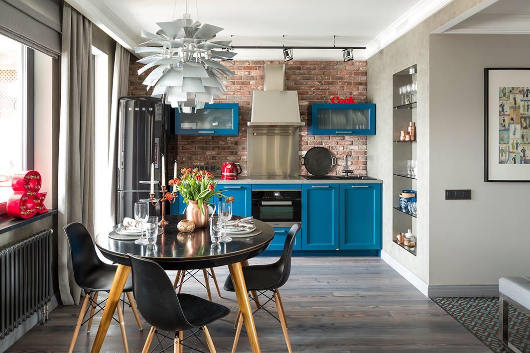 Кухня/столовая в  цветах:   Белый, Бирюзовый, Светло-серый, Серый.  Кухня/столовая в  стиле:   Лофт.