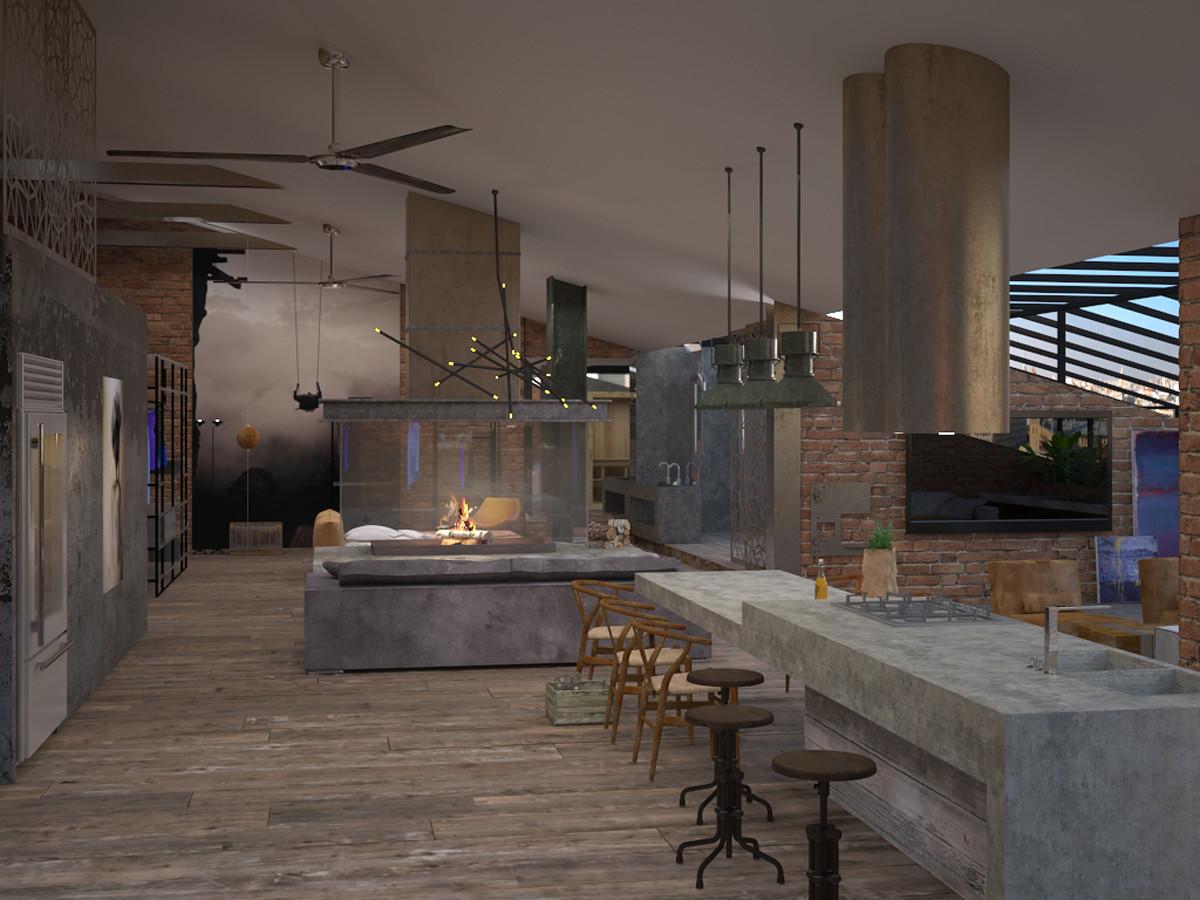 Кухня/столовая в  цветах:   Бежевый, Коричневый, Серый, Черный.  Кухня/столовая в  .