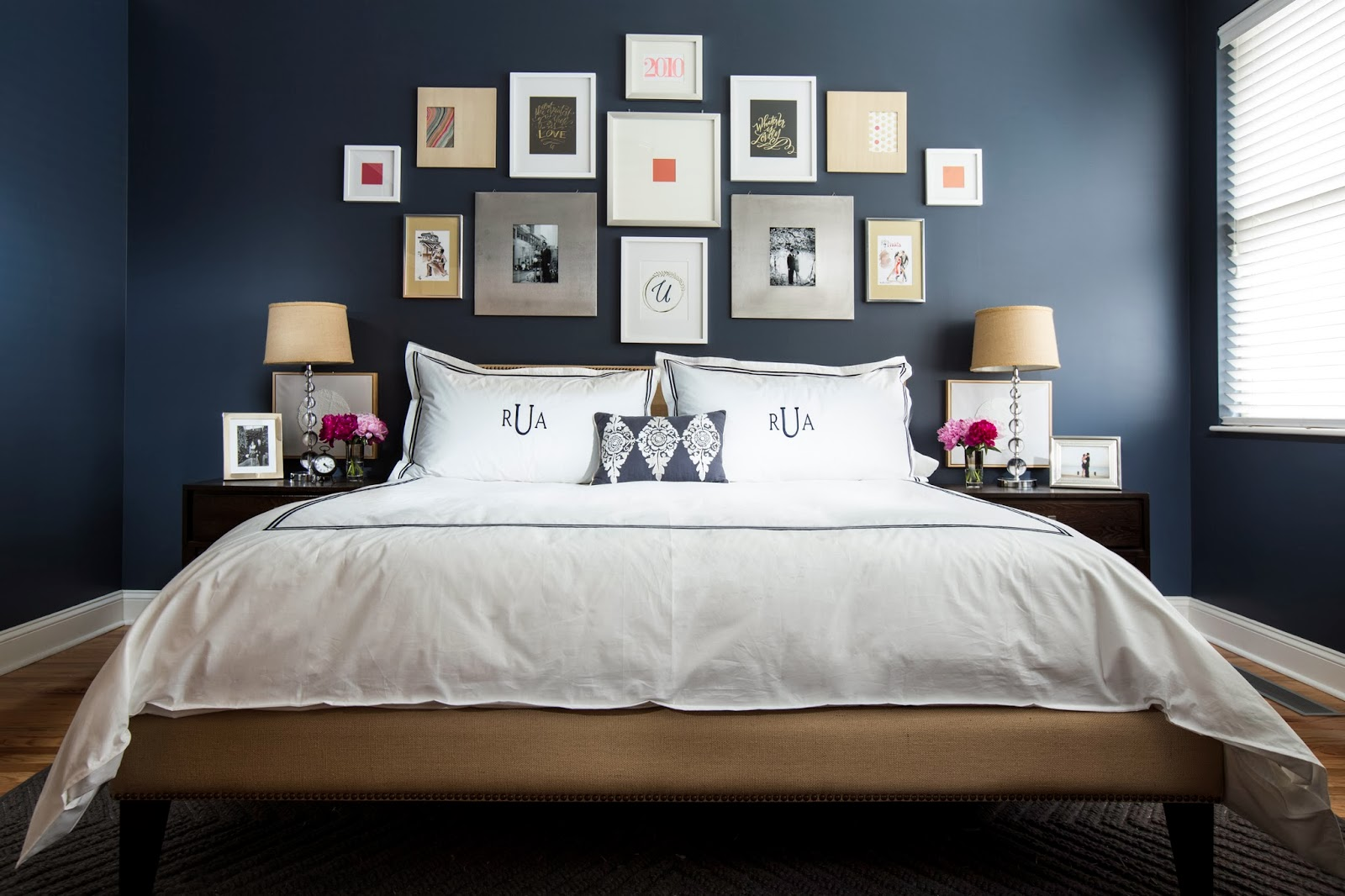 Dark blue and black bedroom - Bold Black And White Bedrooms With Bright Pops Of Color