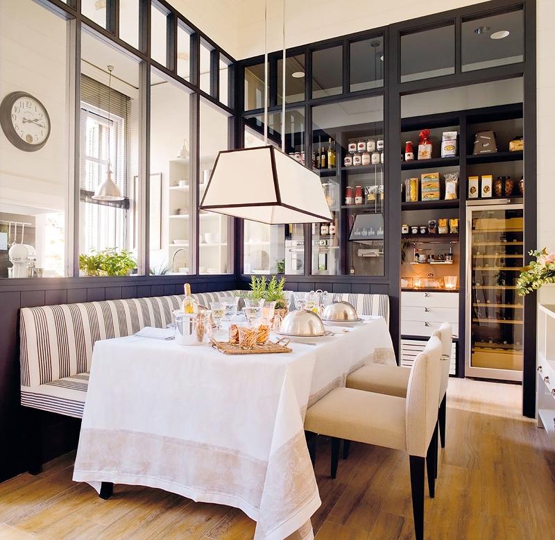Кухня/столовая в  цветах:   Белый, Желтый, Светло-серый, Серый.  Кухня/столовая в  стиле:   Минимализм.
