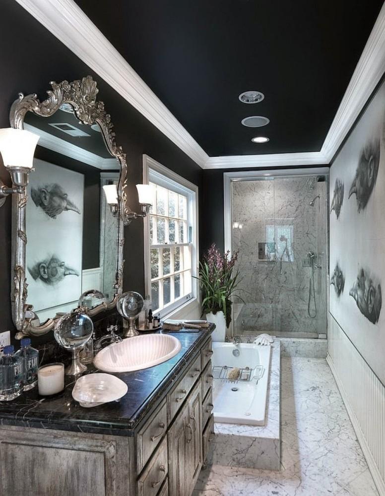 Ванная в  цветах:   Белый, Бирюзовый, Светло-серый, Черный.  Ванная в  стиле:   Классика.