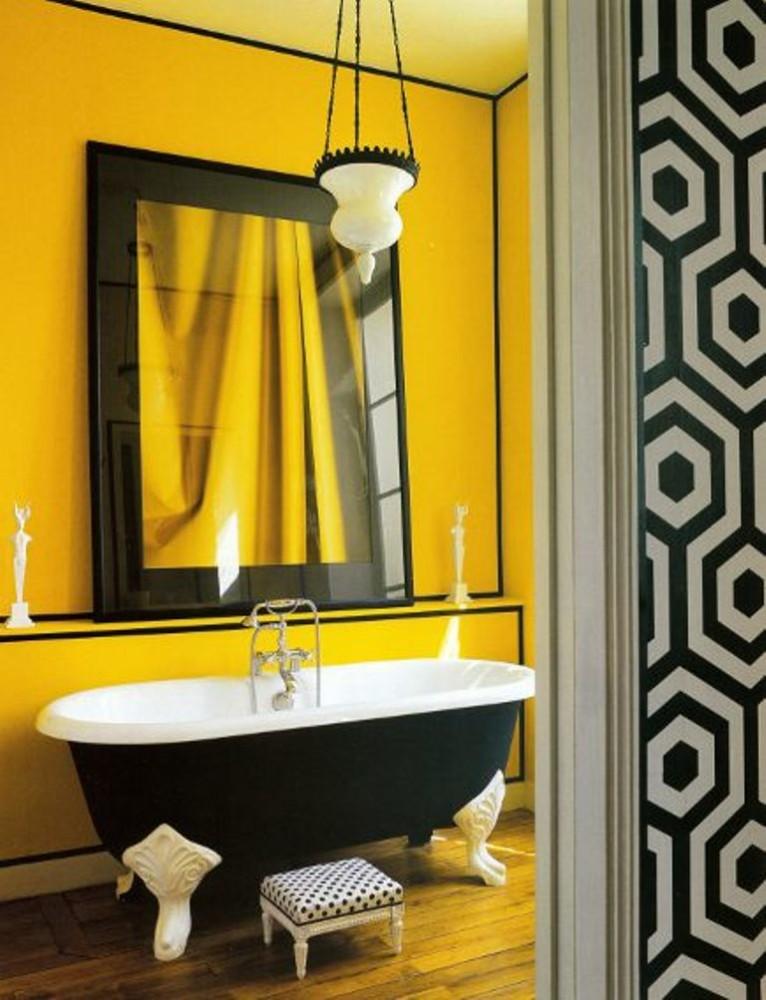 Ванная в  цветах:   Желтый, Оранжевый, Серый, Черный.  Ванная в  стиле:   Арт-деко.