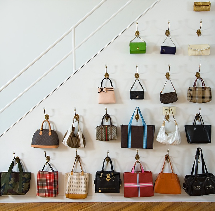 handbag display -- curtain rods and shower hooks with large balls for  holding bigger purses