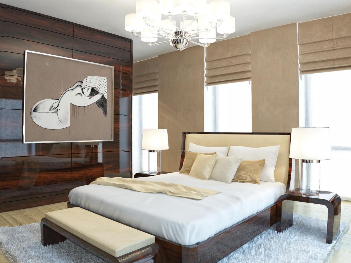 Мебель и предметы интерьера в цветах: белый, темно-коричневый, коричневый, бежевый. Мебель и предметы интерьера в стилях: арт-деко.
