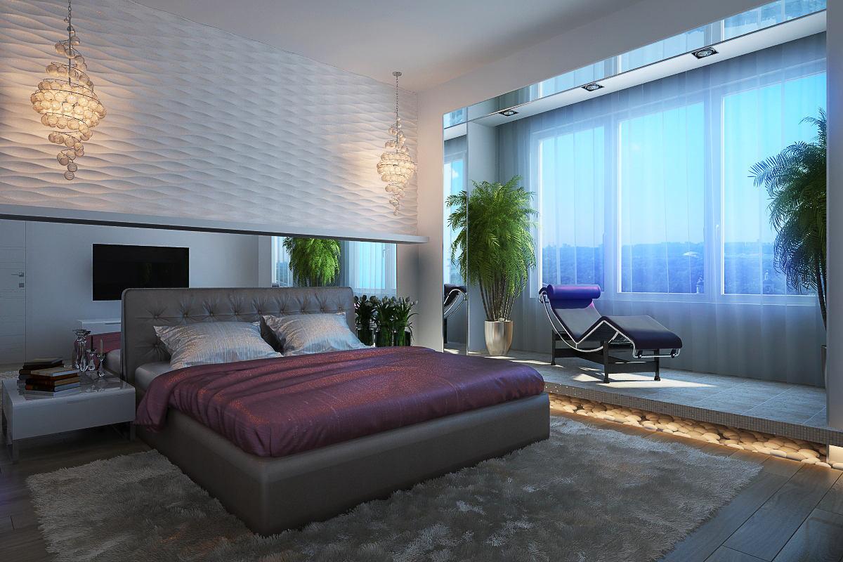 Спальня в цветах: голубой, черный, серый, светло-серый, белый. Спальня в .