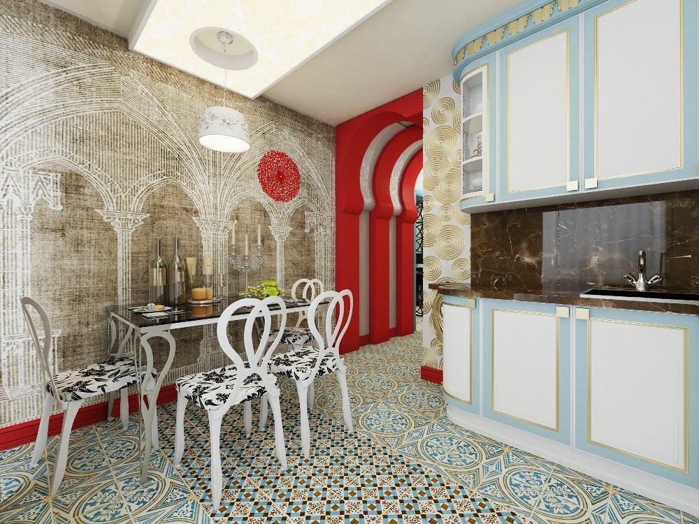 Кухня в цветах: серый, светло-серый, белый, бордовый. Кухня в стилях: ближневосточные стили, эклектика.