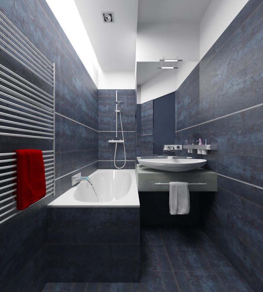 Ванная в цветах: черный, серый, светло-серый, белый, темно-коричневый. Ванная в стиле минимализм.