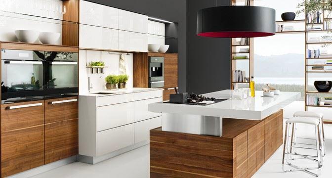 Кухня в цветах: серый, светло-серый, коричневый, бежевый. Кухня в стиле минимализм.
