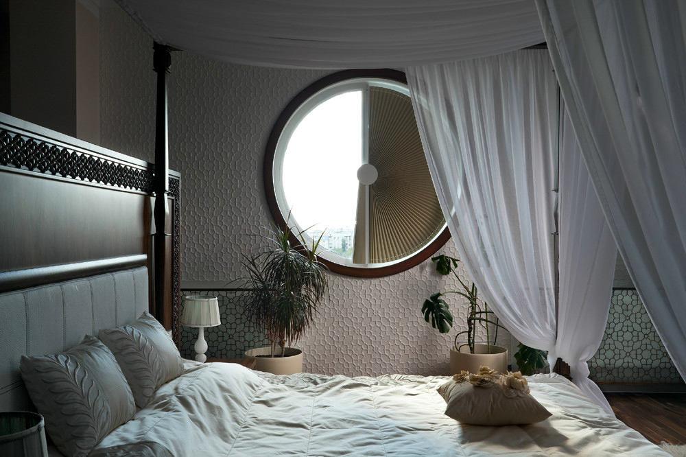 Спальня в цветах: серый, светло-серый, белый, темно-зеленый. Спальня в стилях: модерн и ар-нуво.