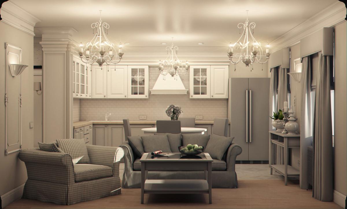 Кухня в цветах: серый, светло-серый, бежевый. Кухня в стиле эклектика.