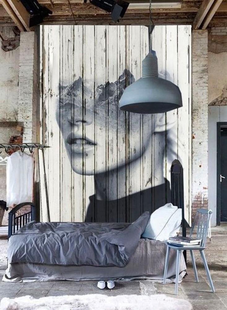 Спальня в цветах: черный, серый, светло-серый, белый. Спальня в стилях: лофт.