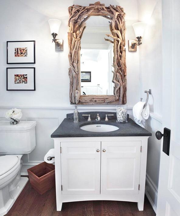 Туалет в цветах: черный, серый, белый, бежевый. Туалет в стиле экологический стиль.