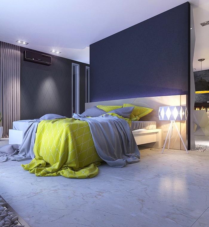 Спальня в цветах: серый, светло-серый, лимонный. Спальня в стиле скандинавский стиль.