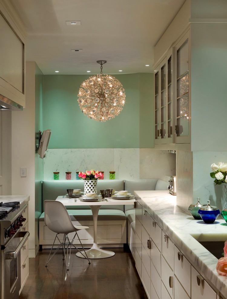 Кухня в цветах: серый, светло-серый, белый, салатовый, бежевый. Кухня в стиле минимализм.