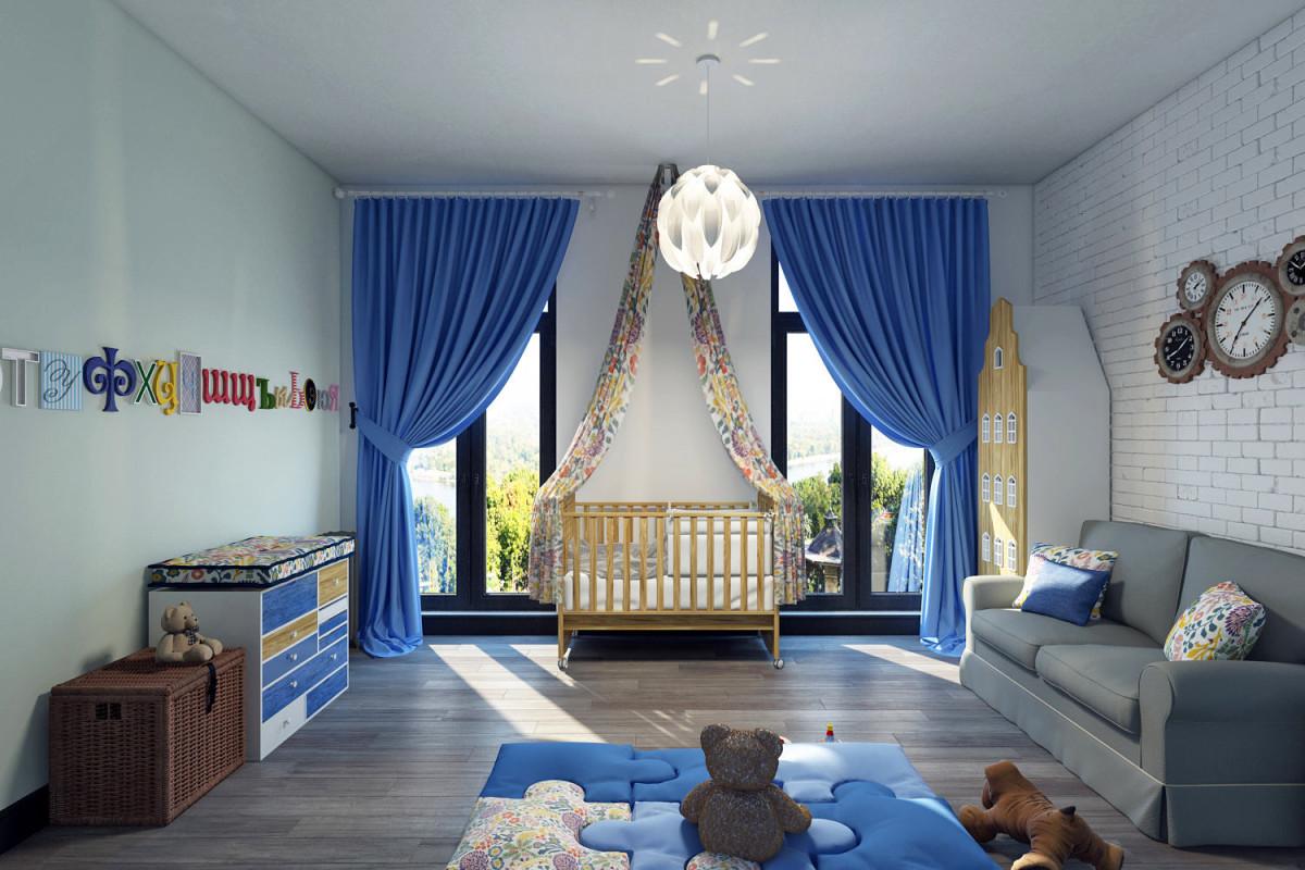 Детская в цветах: голубой, бирюзовый, фиолетовый, серый, светло-серый. Детская в стиле лофт.