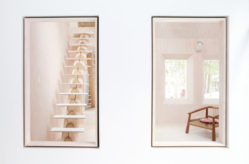 Лестница в цветах: желтый, серый, светло-серый, бежевый. Лестница в стиле минимализм.
