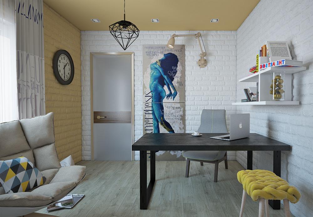 Мебель и предметы интерьера в цветах: черный, серый, светло-серый, белый, лимонный. Мебель и предметы интерьера в стиле эклектика.