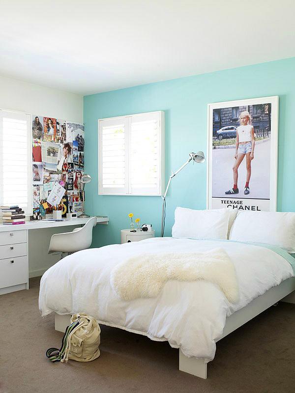 Детская в цветах: бирюзовый, серый, светло-серый, белый. Детская в стиле минимализм.