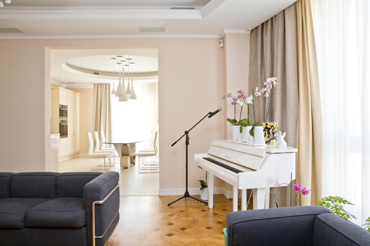 Гостиная, холл в цветах: серый, светло-серый, белый, бежевый. Гостиная, холл в стиле лофт.