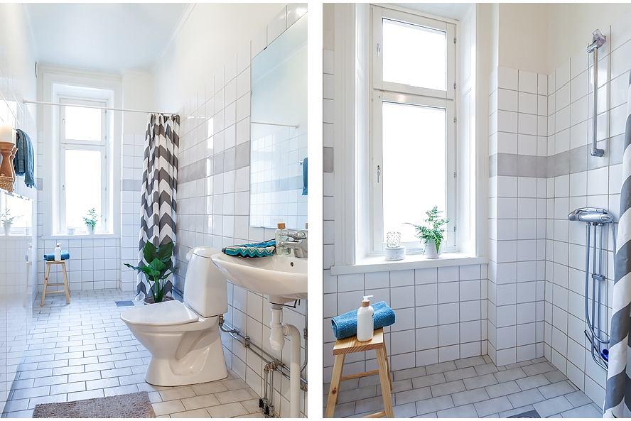Туалет в цветах: светло-серый, белый. Туалет в стилях: скандинавский стиль.