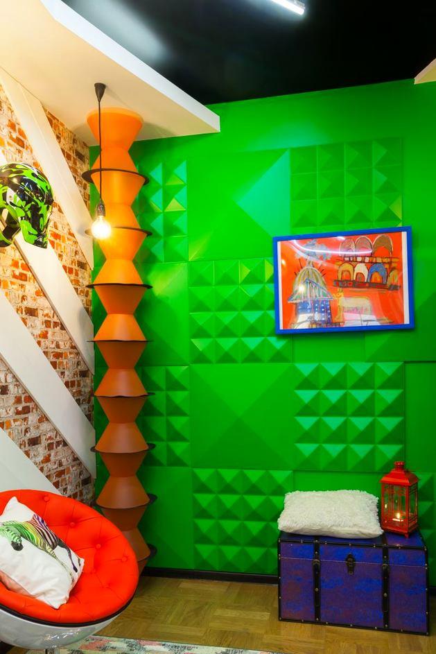 Спальня в цветах: желтый, зеленый, светло-серый, темно-зеленый, коричневый. Спальня в стиле поп-арт.