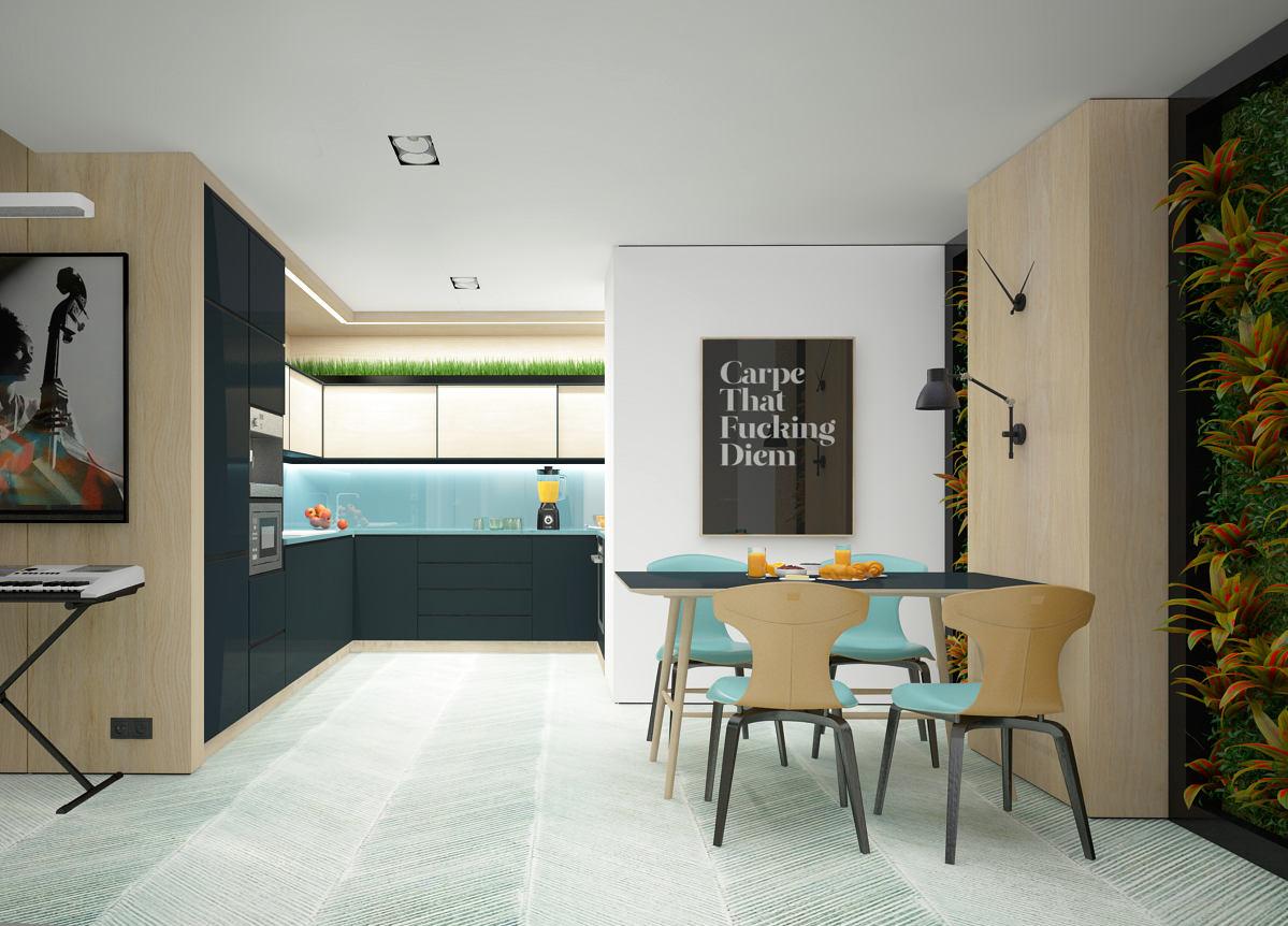 Кухня в цветах: голубой, черный, светло-серый, белый, бежевый. Кухня в стилях: минимализм, экологический стиль.