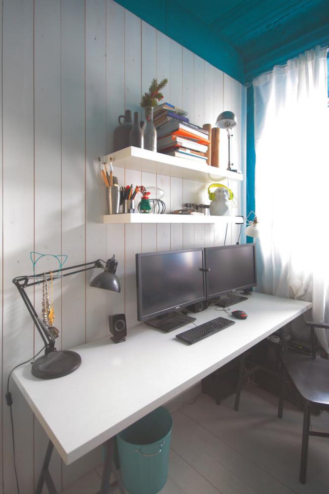 Офис в цветах: бирюзовый, серый, белый, бежевый. Офис в стилях: минимализм, поп-арт.