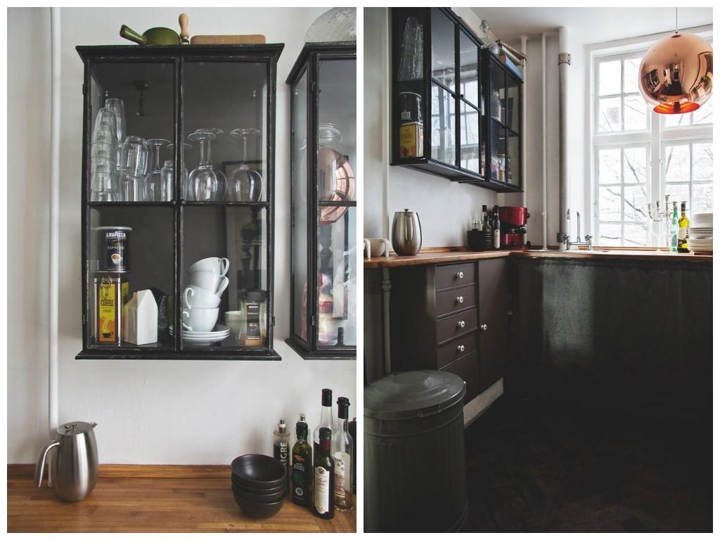 Кухня в цветах: черный, светло-серый, коричневый, бежевый. Кухня в .