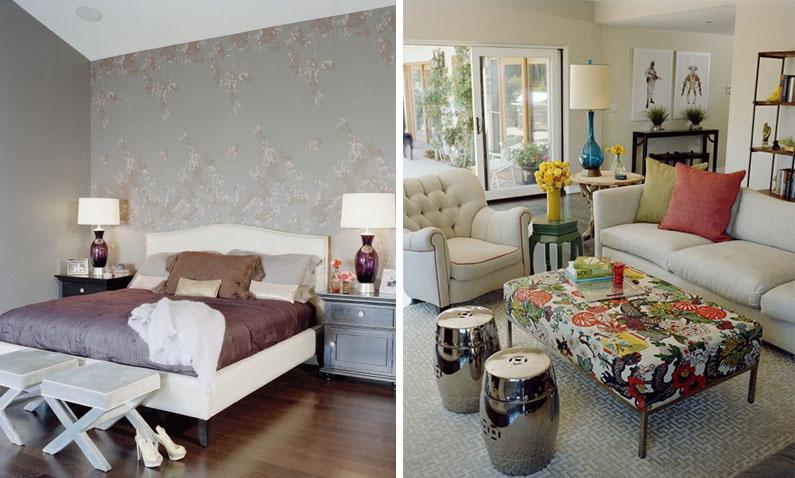 Гостиная, холл в цветах: бирюзовый, серый, светло-серый, белый, бордовый. Гостиная, холл в стиле эклектика.