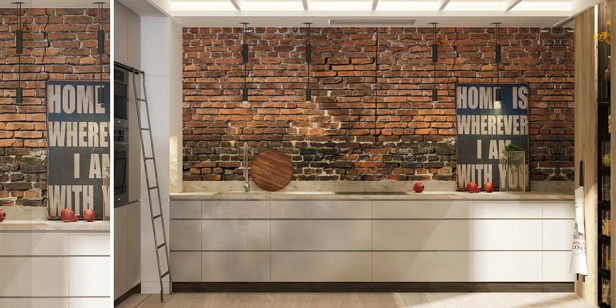 Кухня в цветах: серый, светло-серый, белый, коричневый. Кухня в стилях: минимализм.