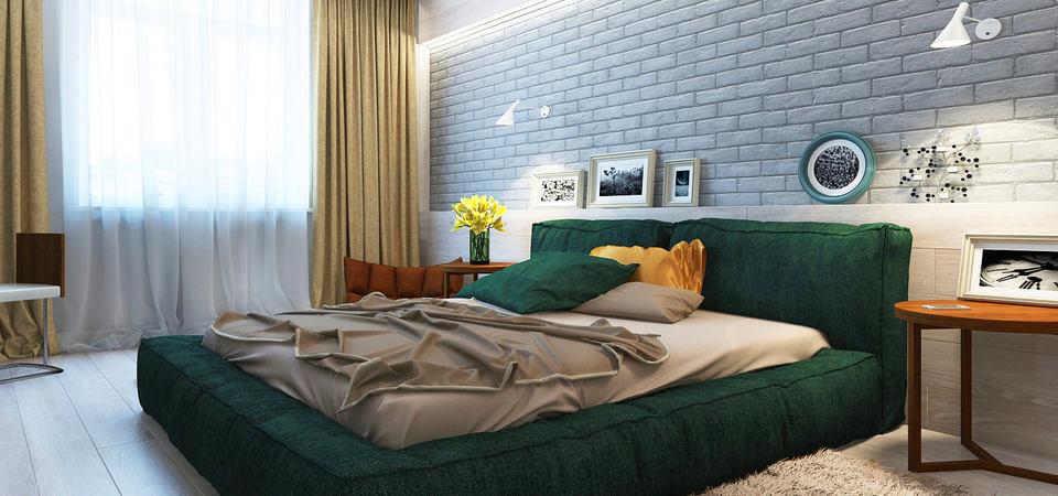 20 интерьеров спален с кирпичной кладкой