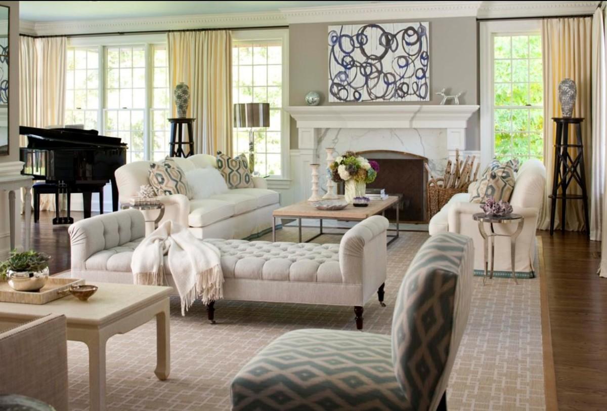 Гостиная, холл в цветах: светло-серый, белый, коричневый, бежевый. Гостиная, холл в стиле американский стиль.