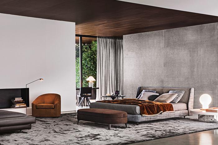Спальня в цветах: серый, светло-серый, темно-коричневый. Спальня в стиле лофт.