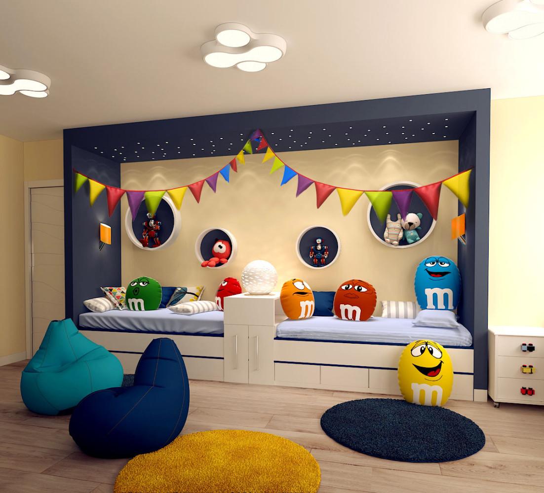 Детская в цветах: белый, лимонный, сине-зеленый, бежевый. Детская в стиле минимализм.