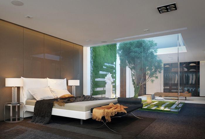 Спальня в цветах: черный, серый, светло-серый, темно-зеленый, коричневый. Спальня в стиле минимализм.