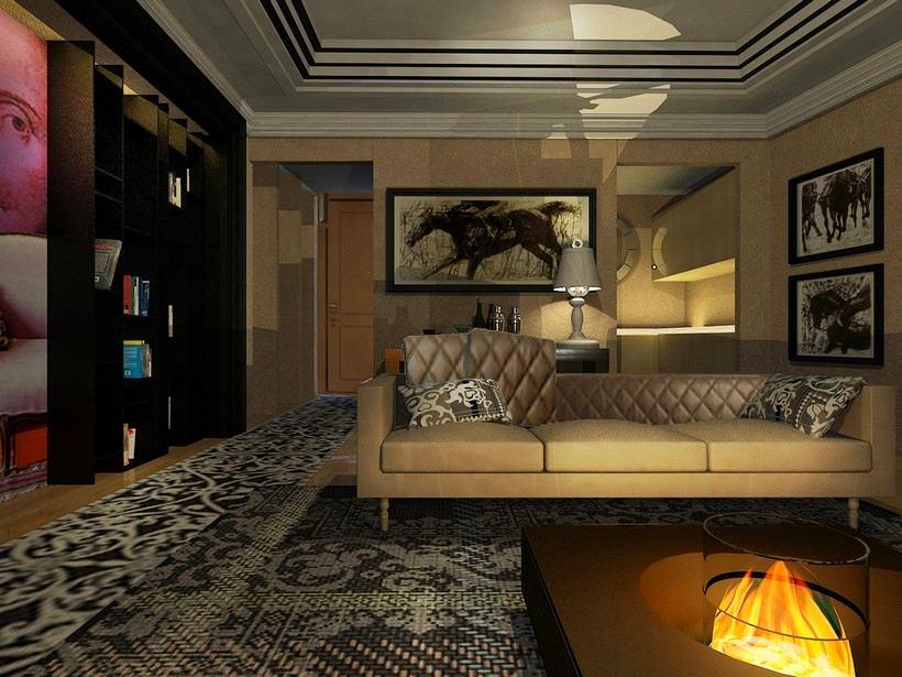 Гостиная, холл в цветах: черный, серый, темно-коричневый, коричневый, бежевый. Гостиная, холл в стиле арт-деко.