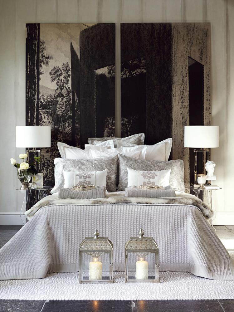 Спальня в цветах: черный, серый, светло-серый, белый, бежевый. Спальня в стилях: классика.