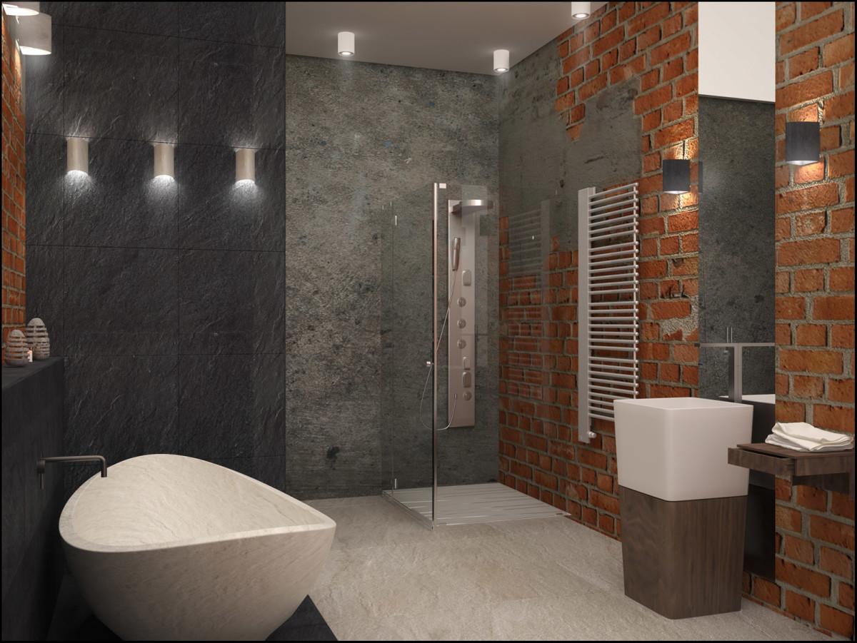 Туалет в цветах: черный, серый, светло-серый, темно-коричневый, коричневый. Туалет в стиле лофт.