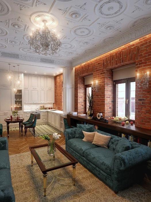 Гостиная, холл в цветах: серый, светло-серый, коричневый, бежевый. Гостиная, холл в стиле лофт.