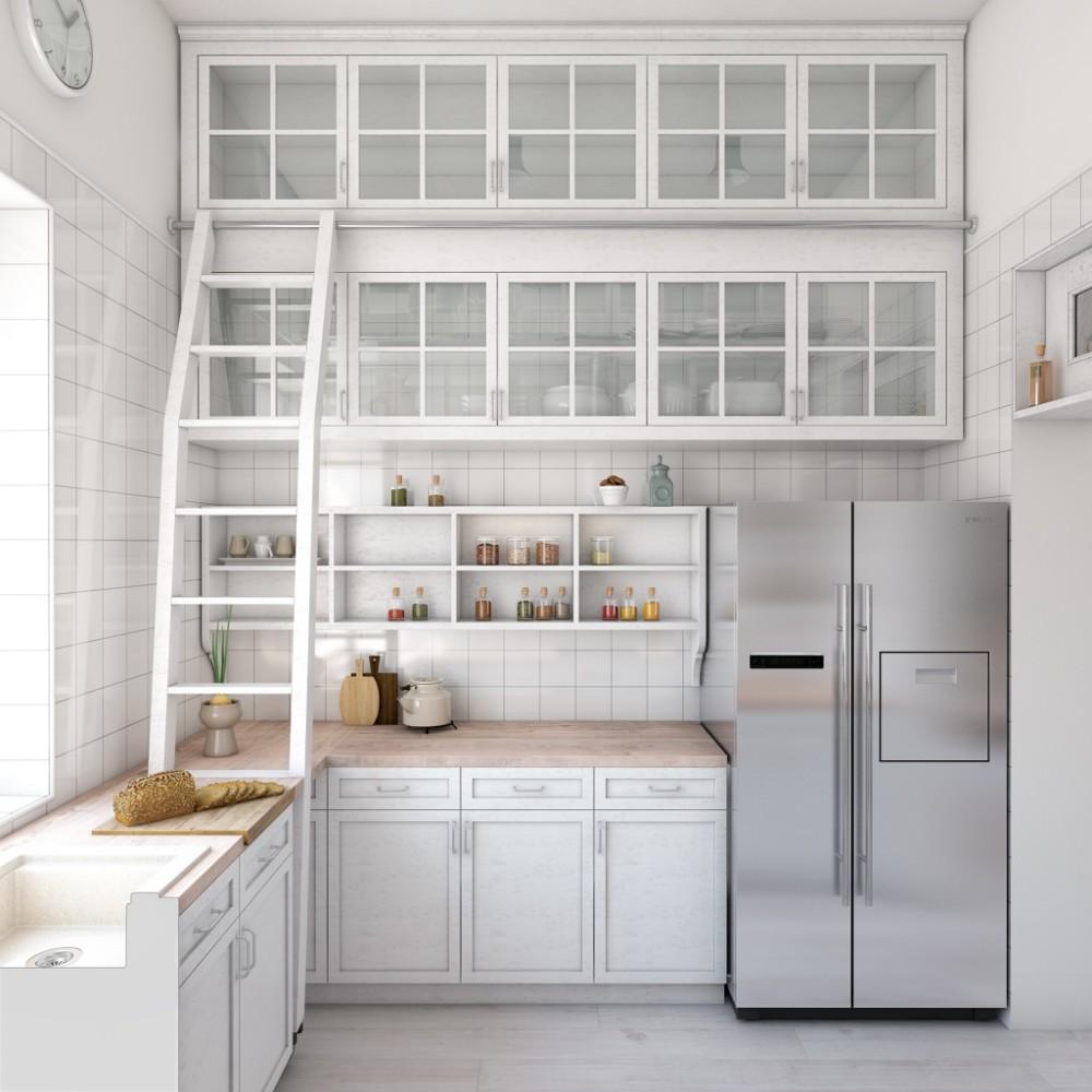 Кухня в цветах: серый, белый, бежевый. Кухня в стилях: минимализм, экологический стиль.