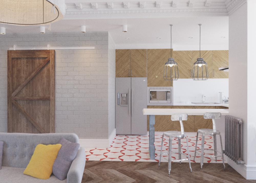 Кухня в цветах: серый, белый, коричневый, бежевый. Кухня в стилях: скандинавский стиль, эклектика.