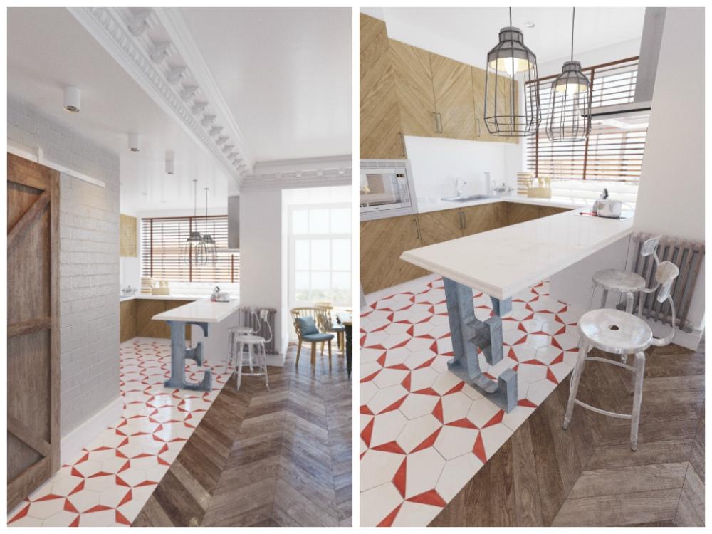 Кухня в цветах: серый, светло-серый, бежевый. Кухня в стилях: скандинавский стиль, эклектика.