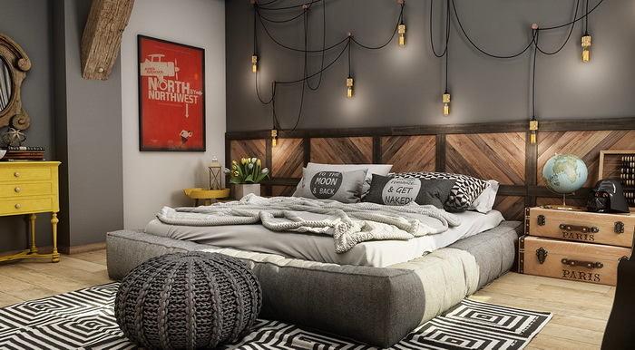 Спальня в цветах: черный, серый, светло-серый, коричневый, бежевый. Спальня в стиле минимализм.