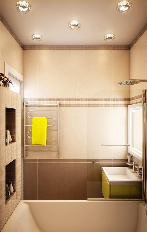 Ванная в цветах: желтый, светло-серый, белый, бежевый. Ванная в стиле эклектика.