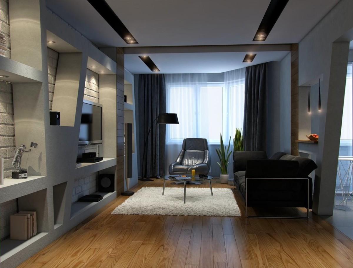 Гостиная, холл в цветах: черный, серый, светло-серый, белый. Гостиная, холл в стиле хай-тек.