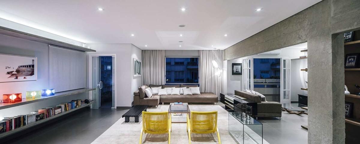 Гостиная, холл в цветах: серый, белый, лимонный, бежевый. Гостиная, холл в стиле минимализм.